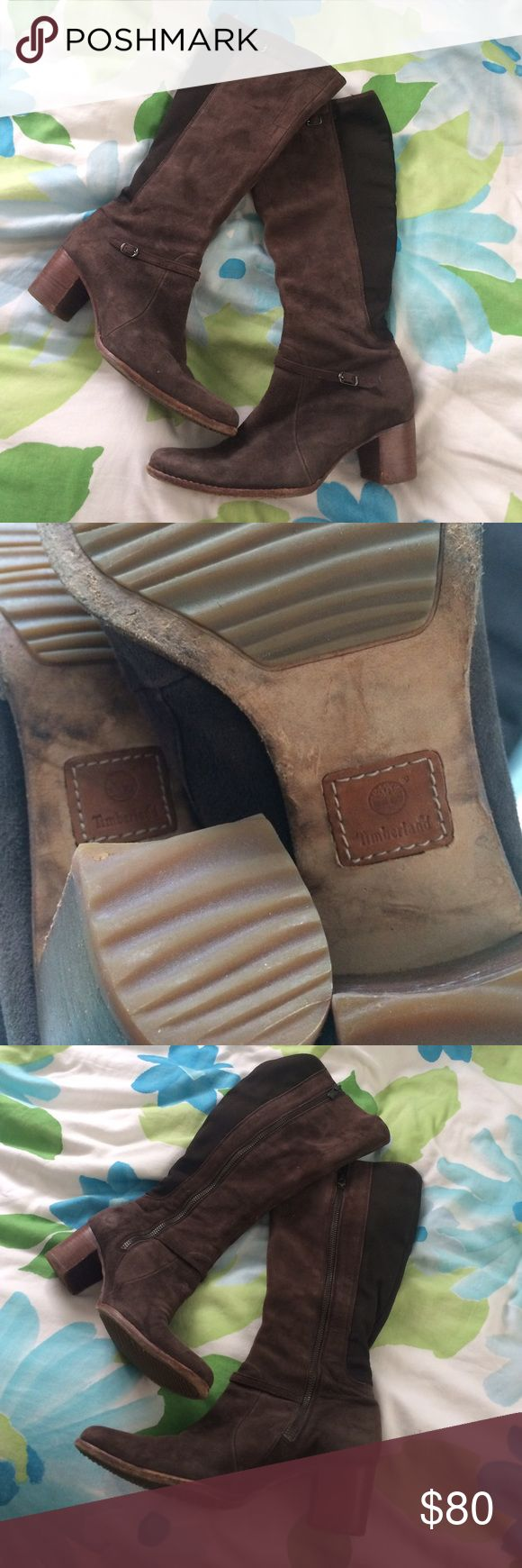 """⚡️FLASH SALE Timberland Suede Boots⚡️ These are women's riding boots from Timberland. They are genuine leather and manmade upper leather and manmade lining leather and manmade outsole. Made in China. Approximately 4"""" heel. Rubber treading on the bottom. Approximately 16"""" shaft height. Approximately 6"""" across flat. Easy stretching for wider calves 😘 Perfect for the fall season! 🍂🍁 Baby power placed inside to prevent sweating; no visible signs of wear from application. Left heel minor…"""