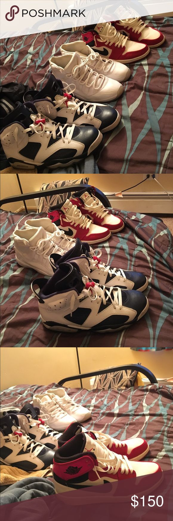 Jordans I'm trying to sell ASAP. Olympic 6s size 9.5 $150.   Retro 1s fabric edition size 9.5 $150. Anniversary 11s size 10 $200 Jordan Shoes Sneakers