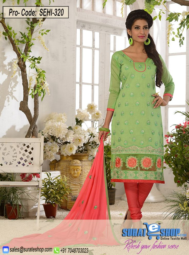 Lime & Hot Pink Salwar Kameez, Top:Fabric Chanderi,Botton:Fabric Santoon,Dupatta:Nazmeen and fancy work   Visit: http://surateshop.com/product-details.php?cid=2_27_44&pid=11912&mid=0
