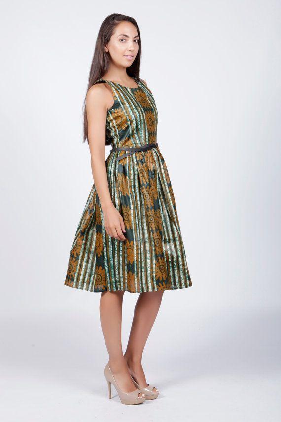 Vestido de algodón de impresión por COLUFashion en Etsy