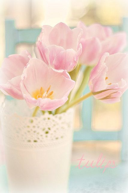 Open pink tulips with yellow and white tin vase. Amazing autumn decor idea for Aprils.   I love tulips in bouquets, table decor and pretty much everywhere. In South Africa tulips are found predominantly in April, one of our biggest wedding months locally. Visit my website and www.fb.com/labolaweddings for more info and ideas - Fridays are flower day on Facebook for me.