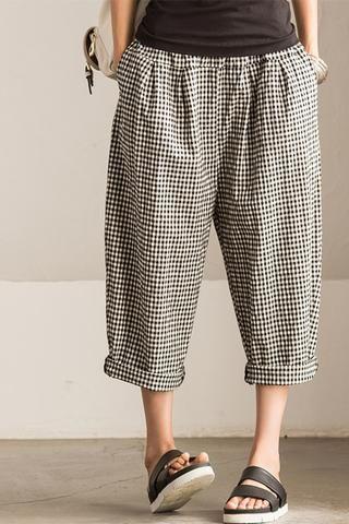 Art Causel Black White Grid Wide-legged Pants Linen Causel Women Clothes K988A