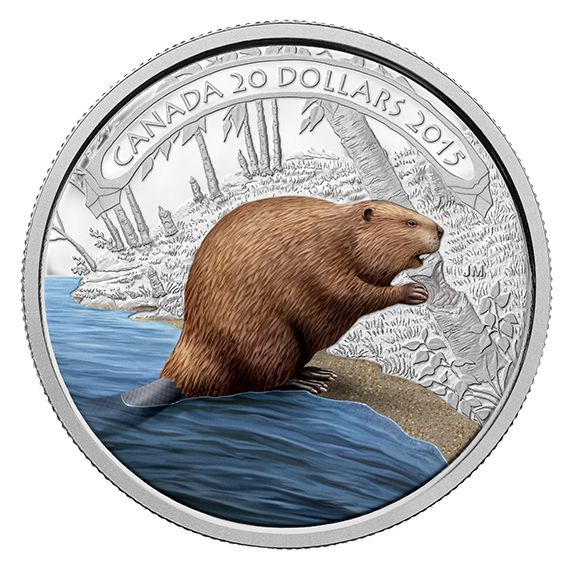 1 oz. Fine Silver Coloured Coin - Beaver at Work - Mintage: 7,500 (2015)