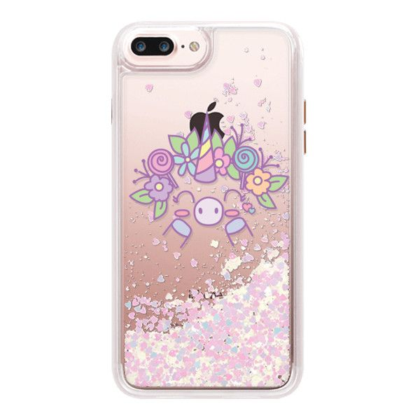 FLOWER COLOR UNICORN - iPhone 7 Plus Liquid Glitter Case And Cover ($45) ❤ liked on Polyvore featuring accessories, tech accessories, phone cases, electronics, phone, iphone case, unicorn iphone case, transparent smartphone, iphone cases and apple iphone case