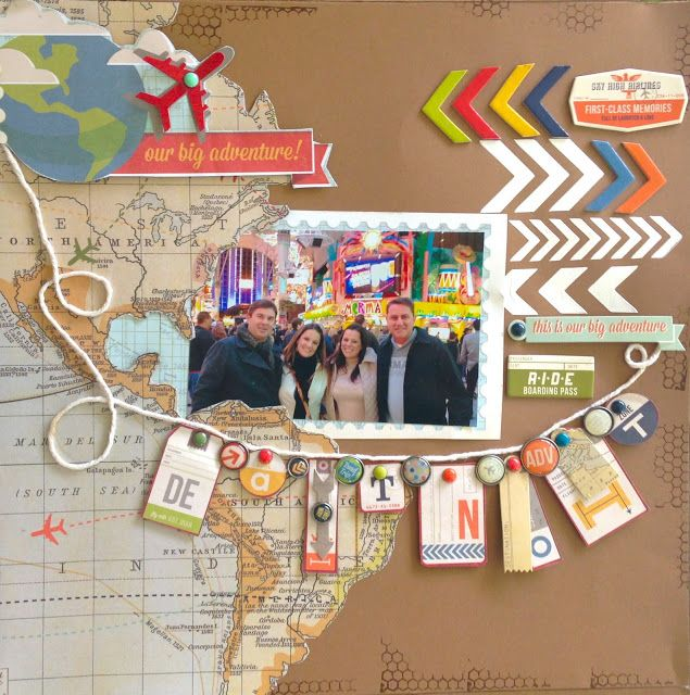 Travel theme: map paper, arrow and banner