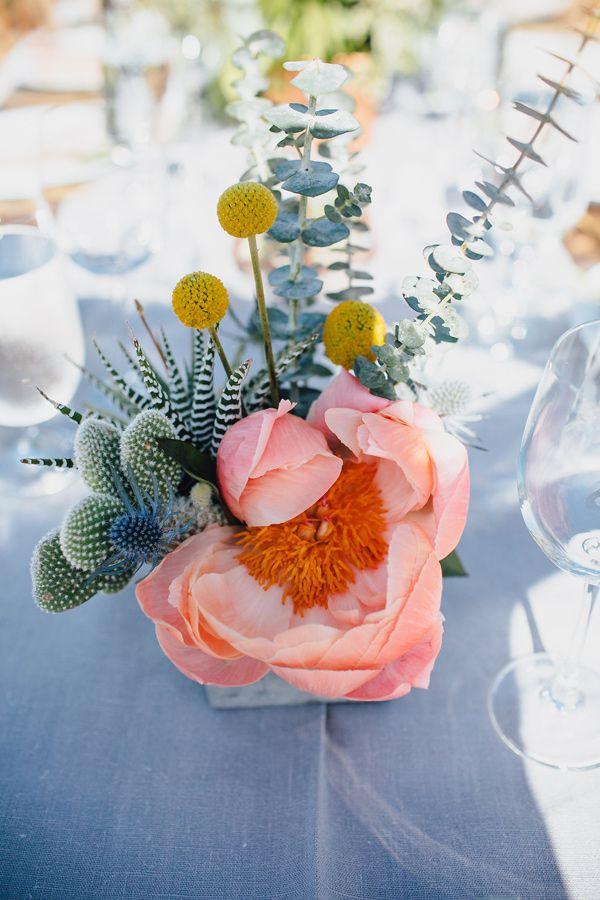 coral charm peony centerpiece - photo by Marble Rye Photography http://ruffledblog.com/desert-dance-party-wedding-in-ojai