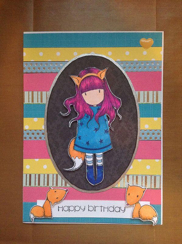 birthday card using Gorjuss Girl stamps