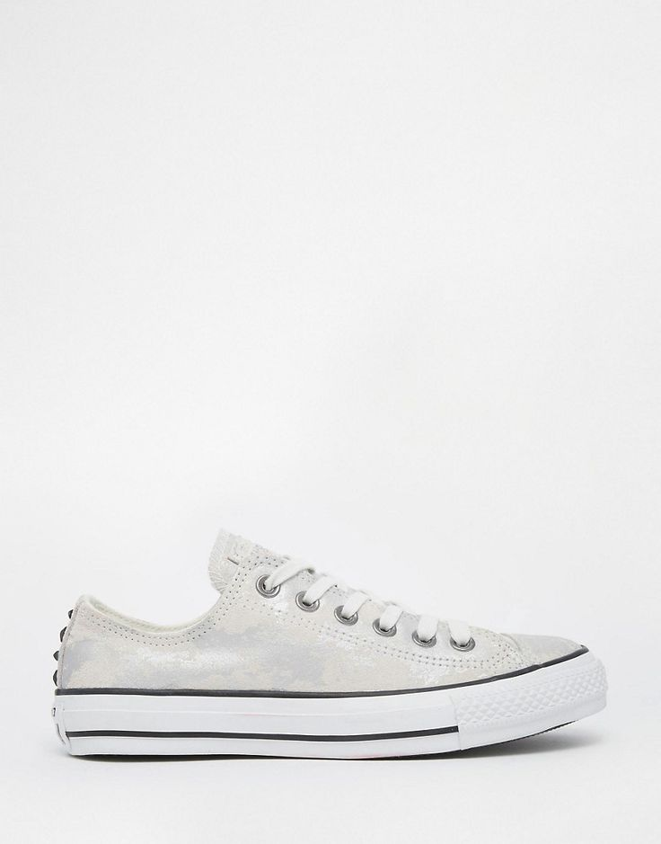 Buy it now. Converse Sparkle Silver Chuck Taylor With Hardware Trainers - Silver. Trainers by Converse, Metallic upper, Lace-up fastening, Signature branding, Embellished detail to the heel, Contrast color sole, Textured grip tread, Wipe with a soft cloth, 100% Textile Upper. From simple beginnings on the basketball court, Converse trainers have reached iconic status. With a spirit of originality and rebellion, classic Chuck Taylor Converse All Star hi-tops receive a constant update with…