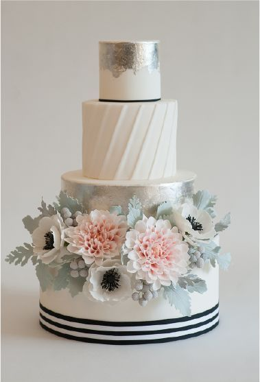 Gorgeous nautical theme white wedding cake with anemone and garden rose flowers; Featured Cake: Heartsweet Cakes