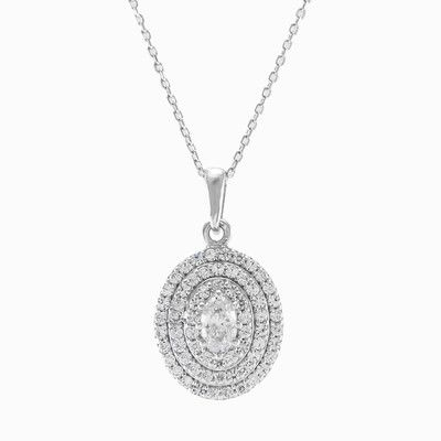 This white gold pendant is made of big central crystal surounded by 3 rows of smaller crystals.