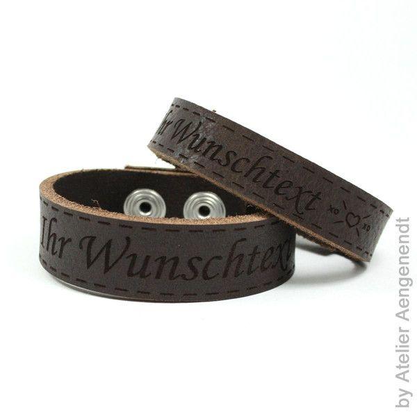 Namensarmbänder - Leder Armband Dakota dunkelbraun mit Text Gravur - ein Designerstück von Fotoschmuck24 bei DaWanda