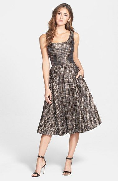 metallic jacquard fit & flare - great day to night dress