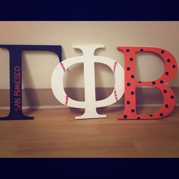 Gamma Phi Beta Greek Wooden Letters 12 inch Greek wooden letters! San Francisco Giants baseball themed for Gamma Phi Beta sorority. CUSTOM made for my Big, but since she is graduating she wants to find a better home for it! Each letter was bought for $12 then crafted by yours truly. These are JUST the wooden letters so please find a way to hang them up. :) Other