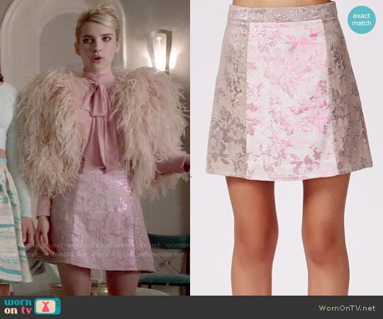 Chanel's pink metallic skirt on Scream Queens.  Outfit Details: http://wornontv.net/52419/ #ScreamQueens