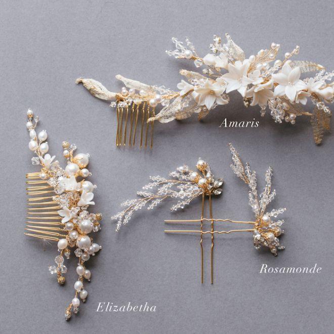 Розамонда | Кристалл и жемчужные заколки для волос для новобрачных