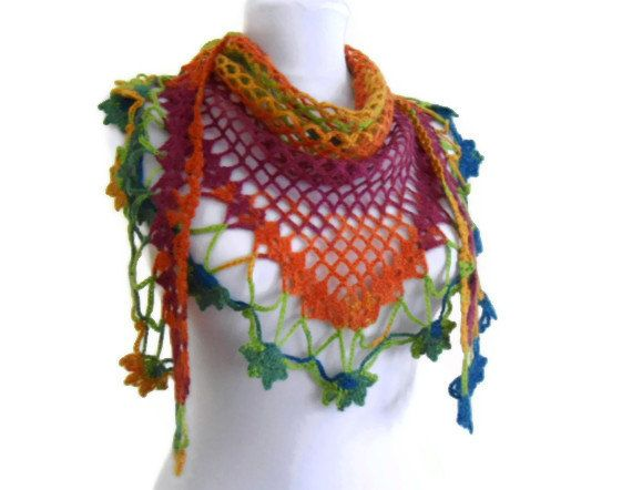Crochet Flower Scarfhand Knittedfashionunique Gifts