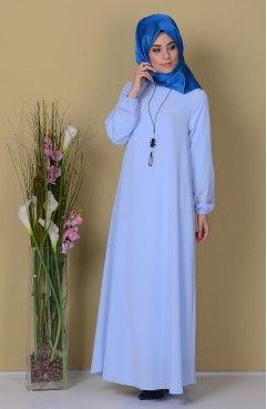 Sefamerve, Kolyeli Elbise 28892-17 Buz Mavi
