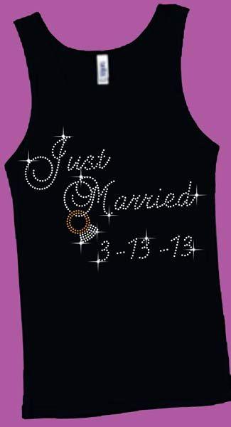 Rhinestone custom Just Married shirt OR by Debbiedesertdiamonds,  www.blingblingwebsite.com
