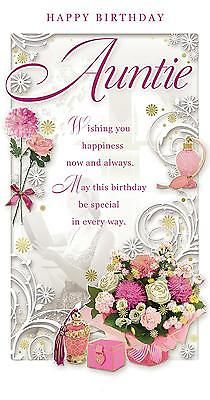 """Auntie #birthday card - #happy #birthday flower bouquet & #perfume bottle 9"""" x 4.7,  View more on the LINK: http://www.zeppy.io/product/gb/2/401129361440/"""