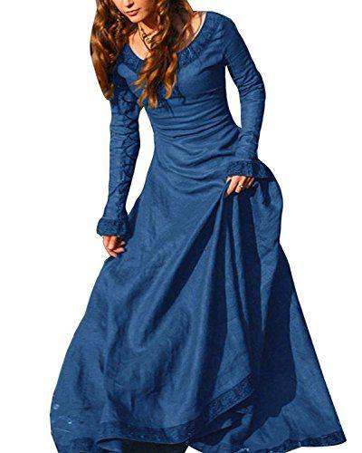 c35cc7a9bf4f ORANDESIGNE Donna Vestito Medievale a Manica Lunga Costume Cosplay  Principessa Vestito Gotico Rinascimentale Blu IT 46