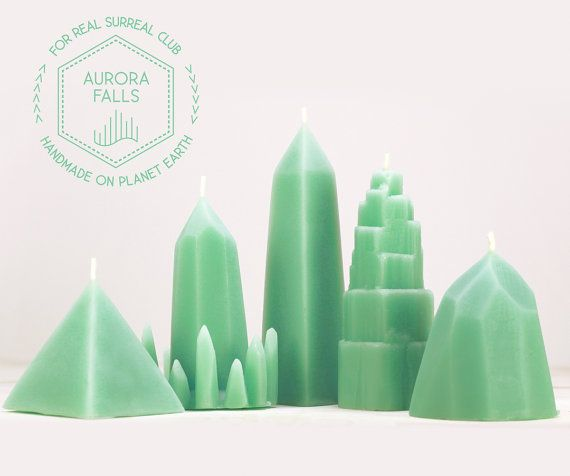 Green Peppermint scented Aurora Falls Beeswax Candles Complete set / 5 Crystal Candles / Quartz, Obelisk, Pyramid, Selenite, Iceberg