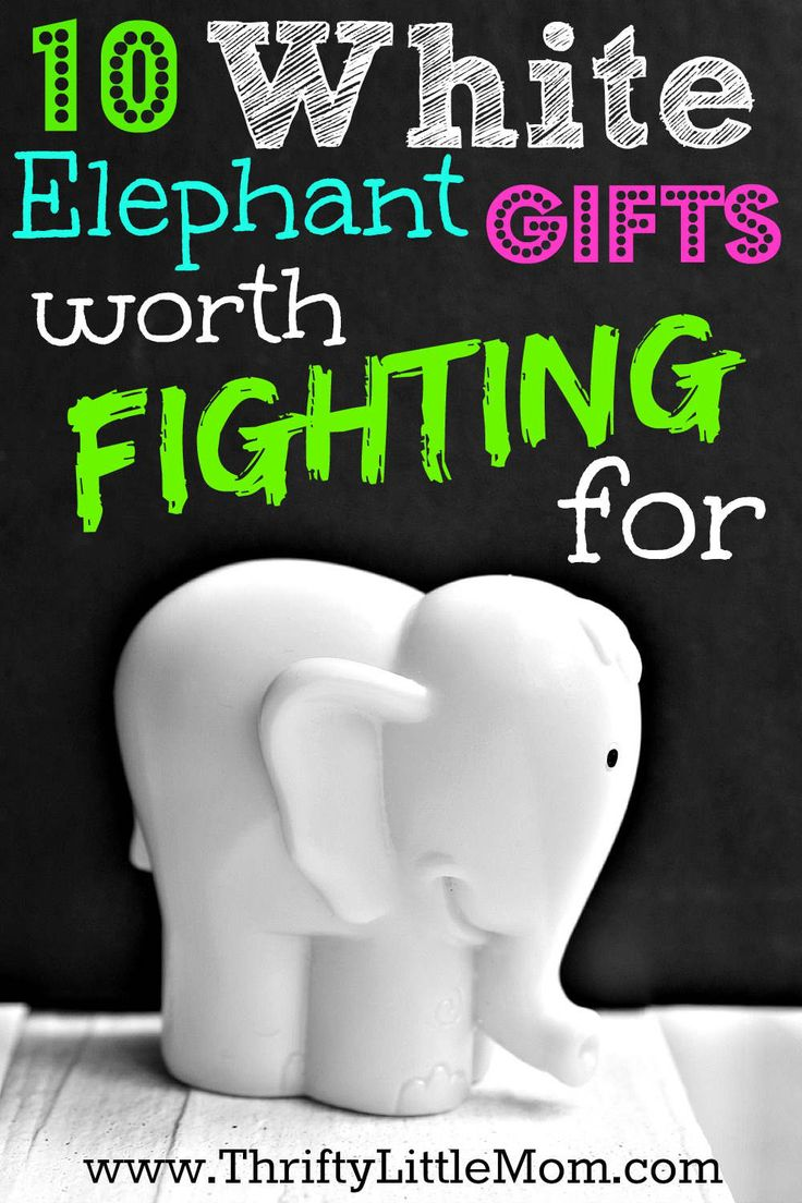 White Elephant is the famous (and at times infamous) gift-exchange game that has each player fighting for the best present. After the first person chooses a gift from the pile, the next person can either steal that gift or take from the stash.  See more at Thrifty Little Mom »  - GoodHousekeeping.com