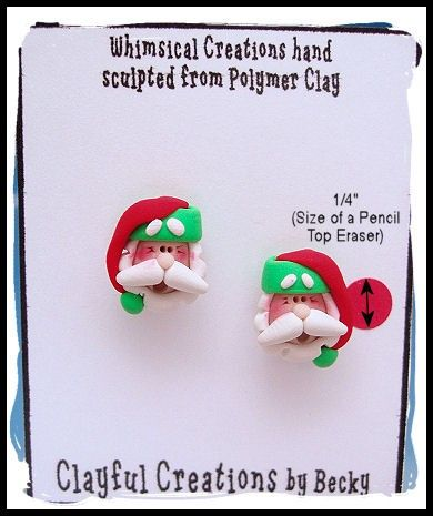 Becky's Polymer Clay  Red and Green Santa by clayfulcreations