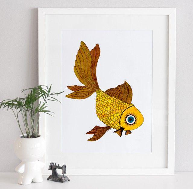 Goldfish, Art print  by Scandinavian designer A Grape Design - Nordic Design Collective