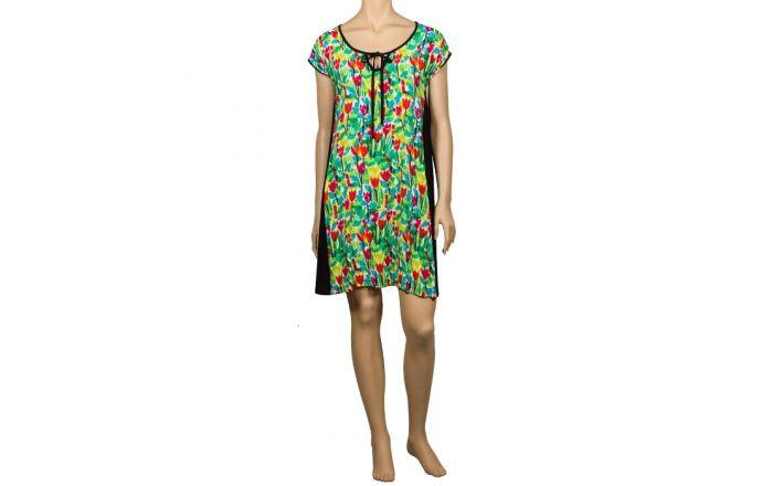 Vestido corto estampado con tulipanes de colores #verano2016 #RopaMujer #Colores