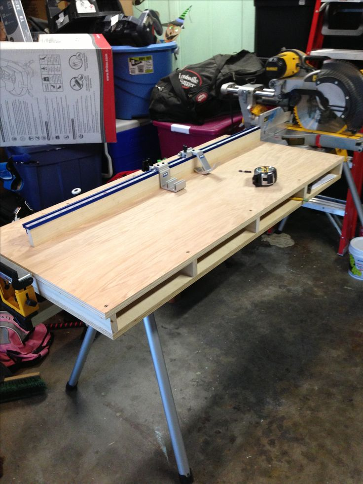 Miter Saw Table Used With Dewalt Table Bracket And Kreg