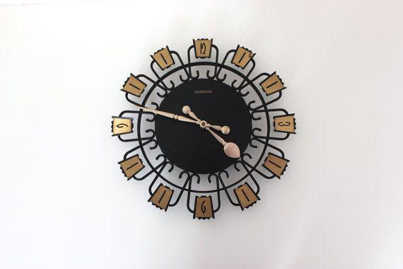 Vintage Dugena Wanduhr Clock Küchenuhr Uhr Wall Clock Mid Century Modern Germany 60er 70er