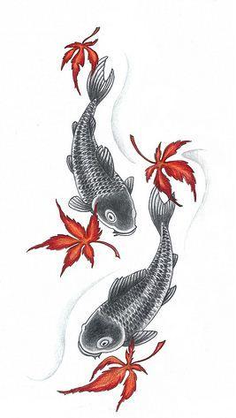 Disegno tatuaggio acero e carpa giapponese