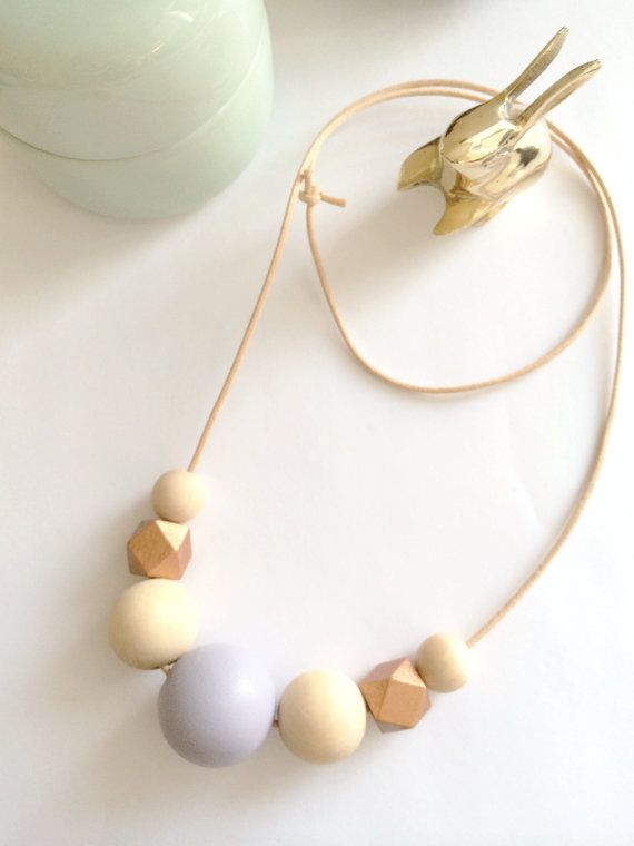 hand painted pastel wooden bead necklace purple gold by snosa
