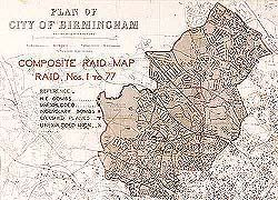 Shows a map of Birmingham with the words Composite Raid Map and details of all…