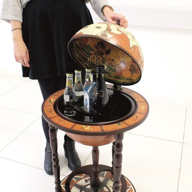 SMALL GLOBE SHAPED DRINKS CABINET MINI BAR TROLLEY VINTAGE RETRO ALCOHOL BOOZE
