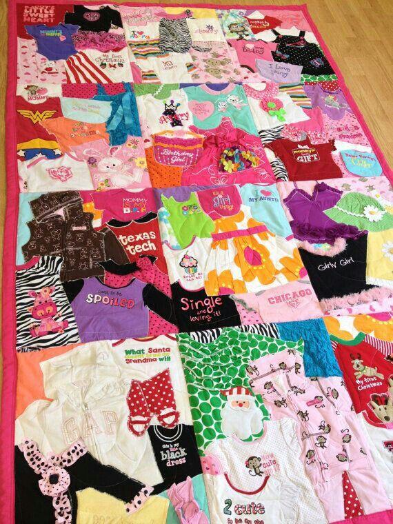 Baby clothes blanket.  Fun Idea!