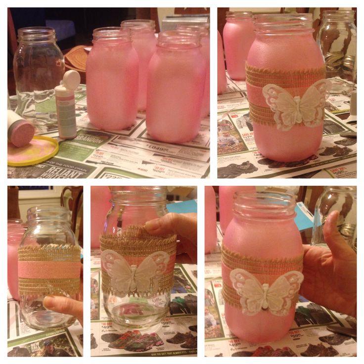 Baby shower mason jar centerpiece followed some