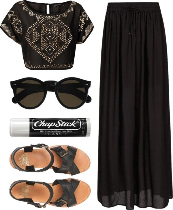 "Black outfit. Bejeweled top and long black skirt. ""98."" by an-ocean-of-coffee ❤ liked on Polyvore"