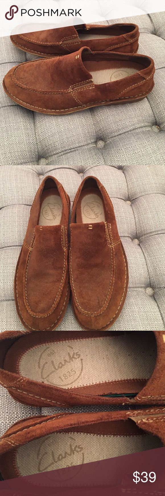 Clarks brown suede loafers 11.5 medium like new Clarks brown rough-out suede loafer slip on shoes. Barely worn in like new condition. Size 11 1/2 medium. Clarks Shoes Loafers & Slip-Ons