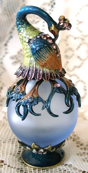 Bejeweled Peacock Bird Enamel and Austrian Crystal Pewter Perfume Bottle