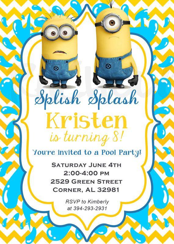 despicable me minion pool party birthday invitation by rachellola