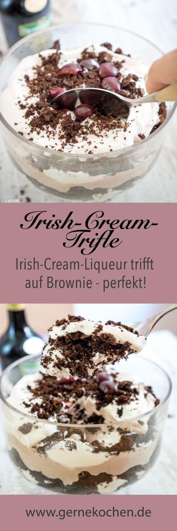Brownie trifft auf Irish Cream Liqueur und gemeinsam ergeben sie ein wunderbares Schichtdessert.