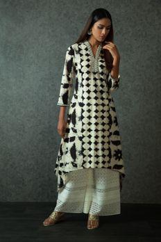 Tie dye kurta embellished with resham work with cut work palazzo pants from #Benzer #Benzerworld #indowesternwear #womenswear