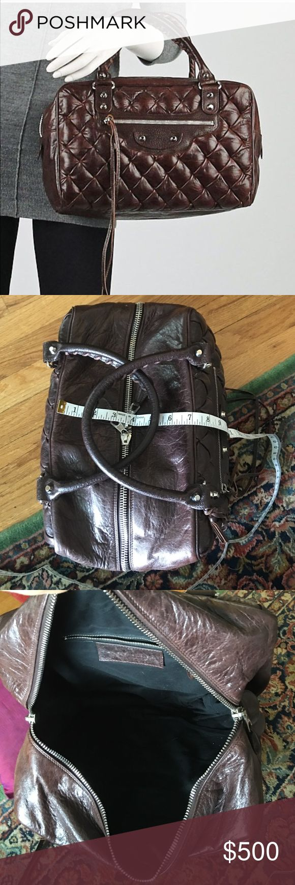 BALENCIAGA Truffle Quilted Chevre Leather  Bag Quilted bubble goatskin leather, this rich brown very sought after bag, gently used by Balenciaga Paris. Authentic made in Italy # 168031.213048 serial number. Balenciaga Bags Satchels