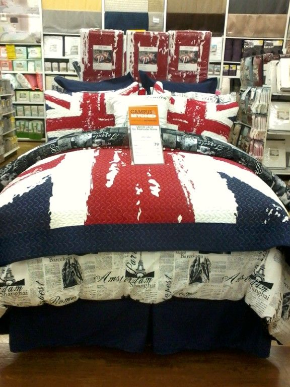 new idea for bedroom. Focused around union jack bedset of some sort. Bed Bath and Beyond.
