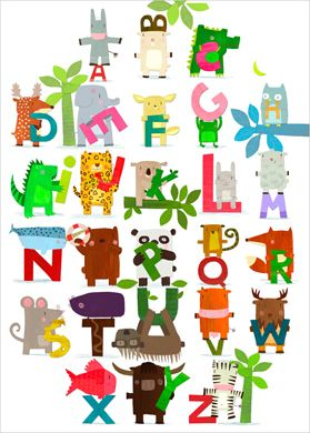 Animal alphabet wall art for kids - Laurence Jammes - L'Affiche Moderne