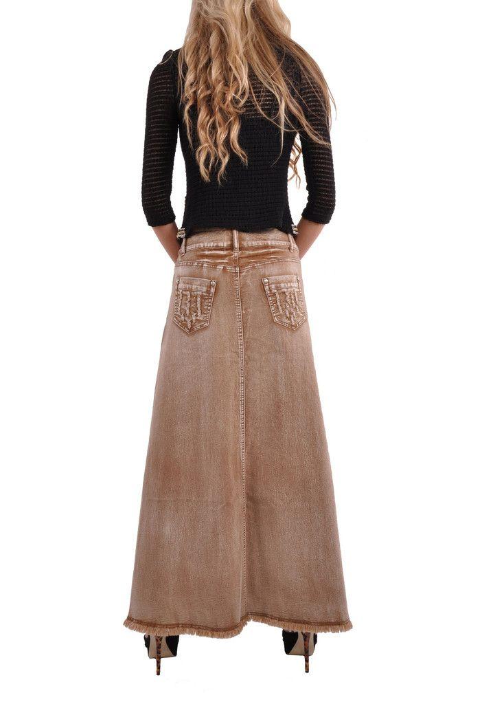 Fringed Fashionista Long Khaki Skirt # TA-0567