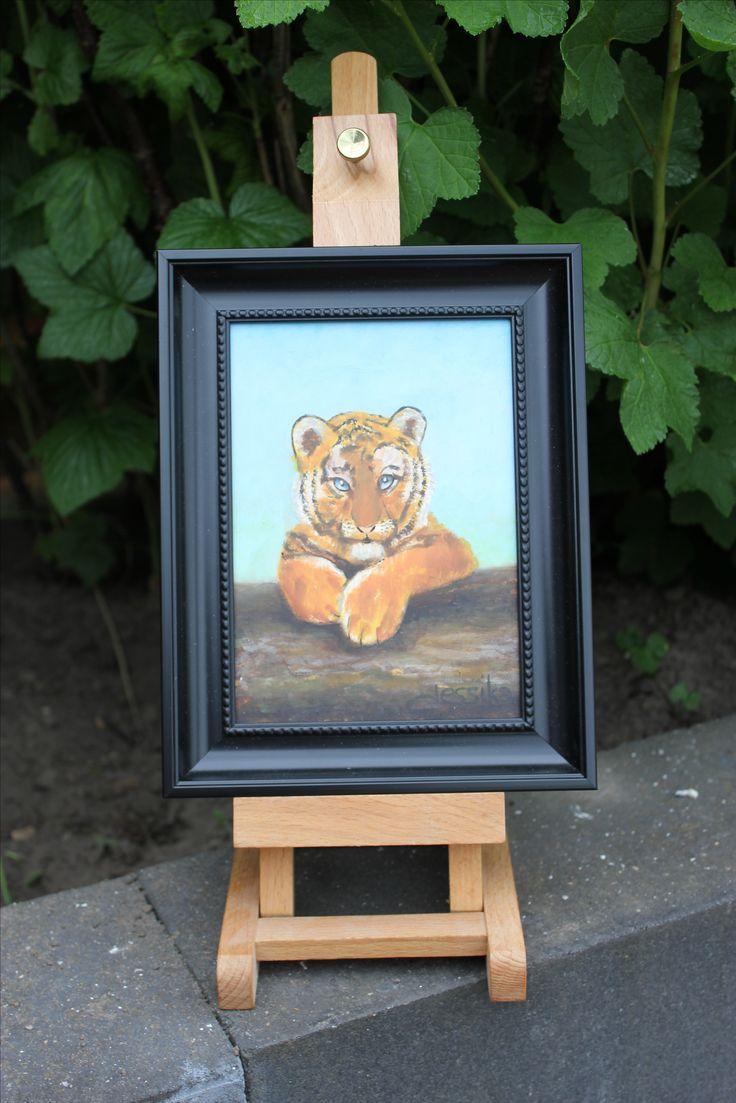 Dit tijgertje 'keek' mij zo lief aan, die moest ik schilderen. Olieverf op paneel 13x18 cm Door Jessika naturrschilderijen