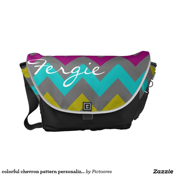 colourful chevron pattern personalised by name commuter bags