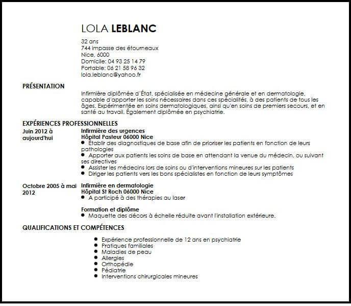 Exemple de CV Infirmière Spécialisée en Médecine Générale ...